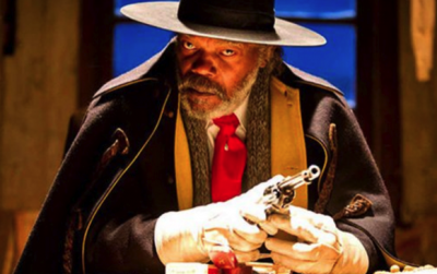 """""""And you will know my name is the Lord---"""" oops, wrong movie.  Samuel L. Jackson as Major Marquis Warren."""