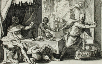 Is Zeus fending off a Werewolf, or is this merely an artist's rendition of what transpired at around 1am of the last Tuesday Night Cigar Club gathering?